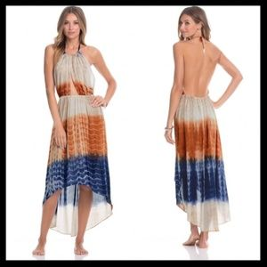 ale alessandra // tie dye halter high low dress